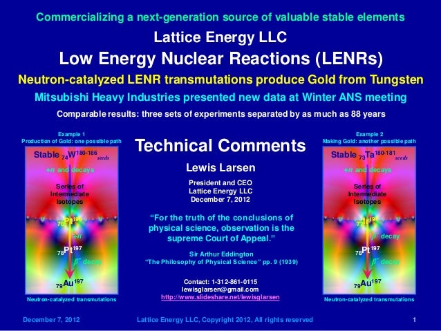 Commercializing a next-generation source of valuable stable elements  December 7, 2012 Lattice Energy LLC, Copyright 2012,...