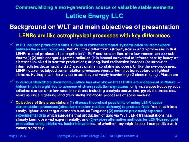 Lattice Energy LLC- LENR Transmutation Networks can ...
