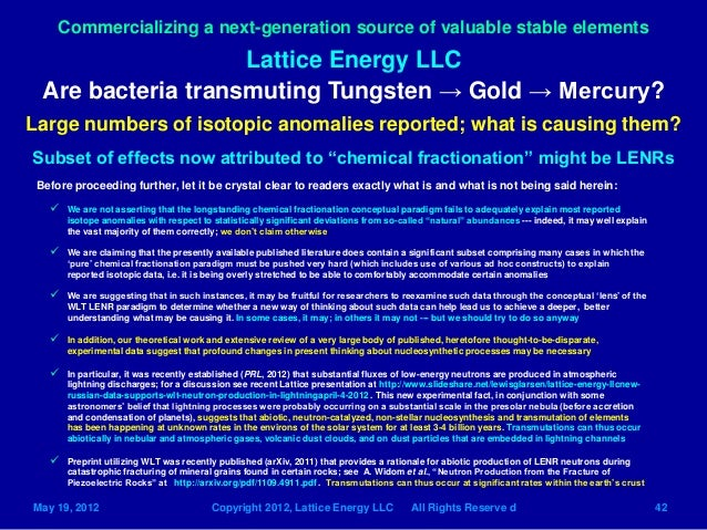 Lattice Energy LLC- LENR Transmutation Networks can Produce Gold-May …