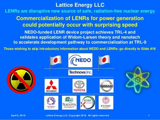 April 9, 2018 Lattice Energy LLC, Copyright 2018 All rights reserved 1 Lattice Energy LLC LENRs are disruptive new source ...
