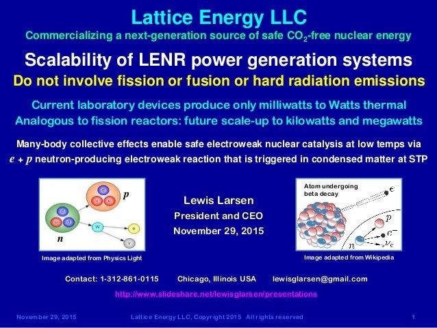 November 29, 2015 Lattice Energy LLC, Copyright 2015 All rights reserved 1 Lattice Energy LLC Scalability of LENR power ge...