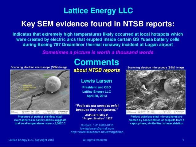 Lattice Energy LLCLattice Energy LLC, copyright 2013 All rights reserved 1Key SEM evidence found in NTSB reports:Indicates...