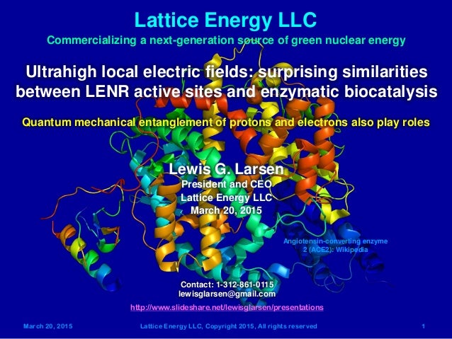 March 20, 2015 Lattice Energy LLC, Copyright 2015, All rights reserved 1 Lattice Energy LLC Commercializing a next-generat...