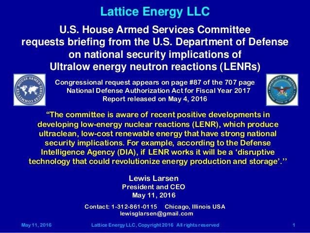 May 11, 2016 Lattice Energy LLC, Copyright 2016 All rights reserved 1 Lattice Energy LLC Contact: 1-312-861-0115 Chicago, ...