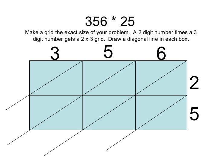 356 * 25 3 5 6 2 5 Make a grid the exact size of your problem.  A 2 digit number times a 3 digit number gets a 2 x 3 grid....