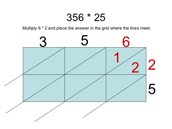 356 * 25 3 5 6 2 5 1 2 Multiply 6 * 2 and place the answer in the grid where the lines meet.