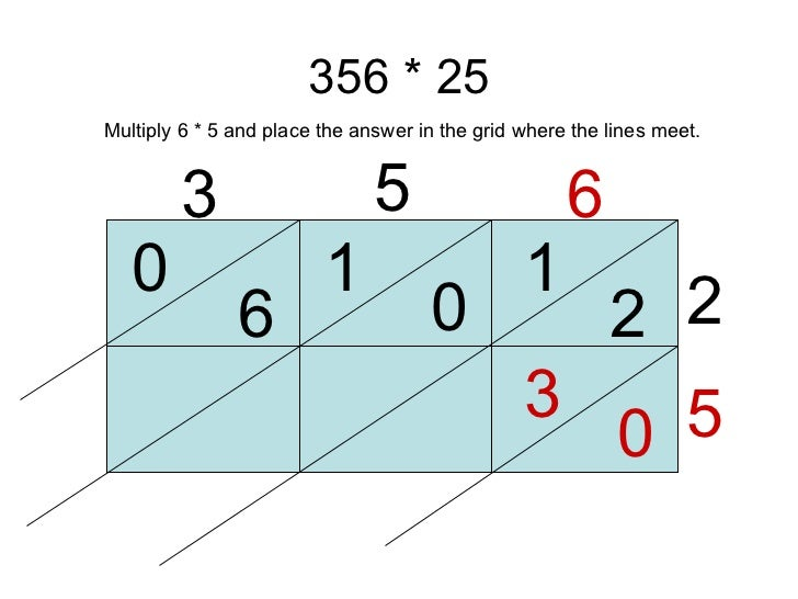 356 * 25 3 5 6 2 5 1 2 0 1 6 0 0 3 Multiply 6 * 5 and place the answer in the grid where the lines meet.