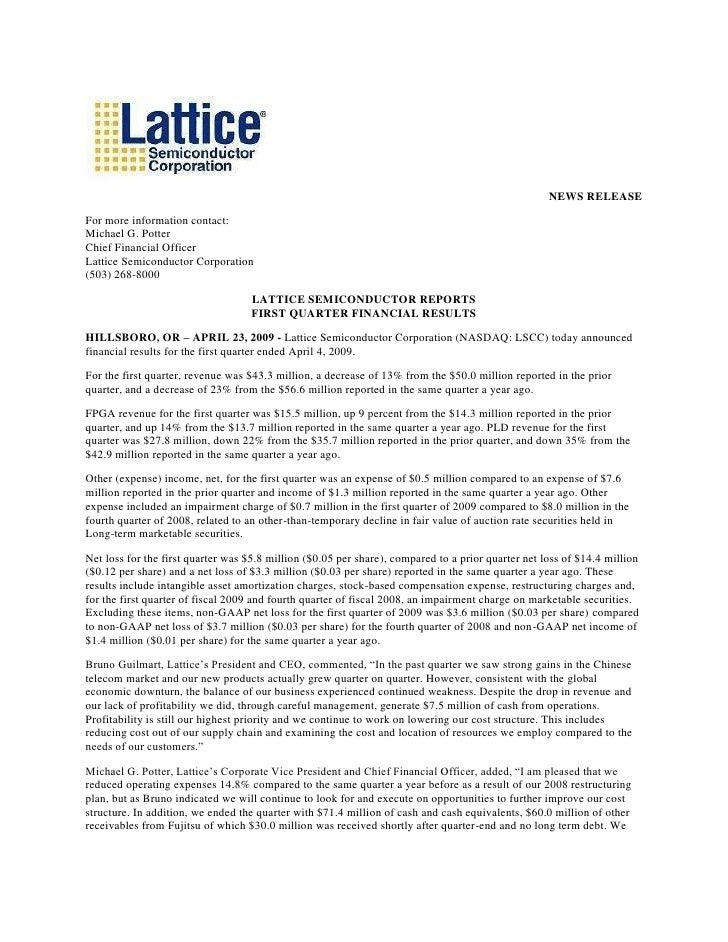 NEWS RELEASE  For more information contact: Michael G. Potter Chief Financial Officer Lattice Semiconductor Corporation (5...