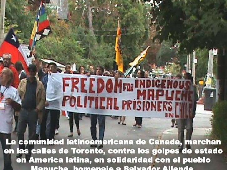 La comunidad latinoamericana de Canada, marchan en las calles de Toronto, contra los golpes de estado en America latina, e...