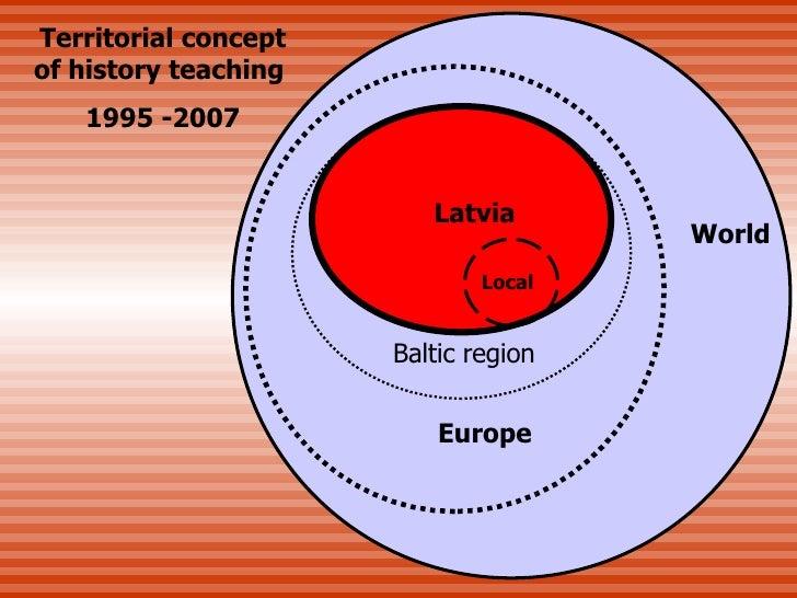 Latvia Europe Baltic region World Local Territorial  concept of  history teaching  199 5  - 2007