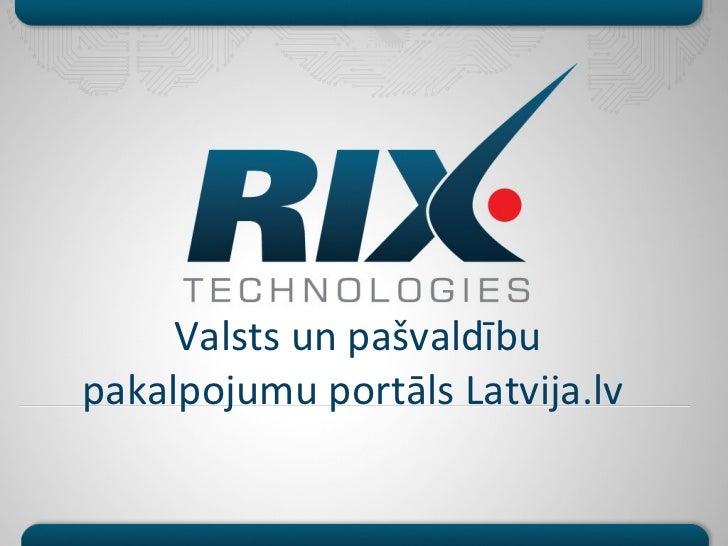 Valsts un pašvaldībupakalpojumu portāls Latvija.lv