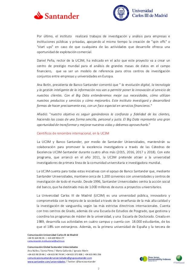 La UC3M y Banco Santander crean un Instituto pionero de Investigación en Big Data Financiero Slide 2