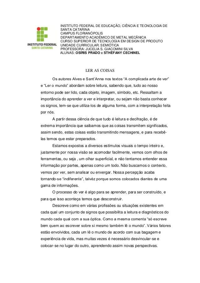 INSTITUTO FEDERAL DE EDUCAÇÃO, CIÊNCIA E TECNOLOGIA DE SANTA CATARINA  CAMPUS FLORIANÓPOLIS  DEPARTAMENTO ACADÊMICO DE MET...