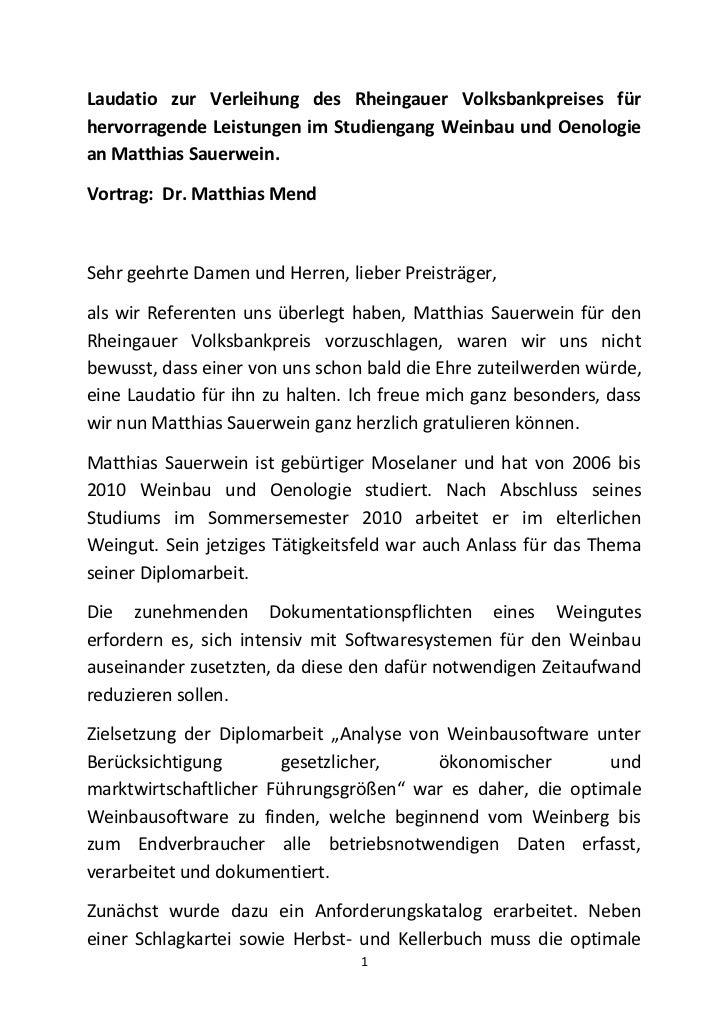 Laudatio zur Verleihung des Rheingauer Volksbankpreises fürhervorragende Leistungen im Studiengang Weinbau und Oenologiean...