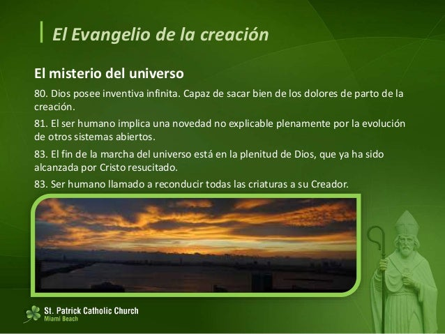  El Evangelio de la creación El mensaje de cada criatura en la armonía de todo lo creado 84. La historia de la propia ami...