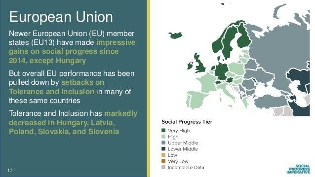 European Union Newer European Union (EU) member states (EU13) have made impressive gains on social progress since 2014, ex...