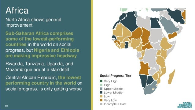 Africa North Africa shows general improvement Sub-Saharan Africa comprises some of the lowest-performing countries in the ...