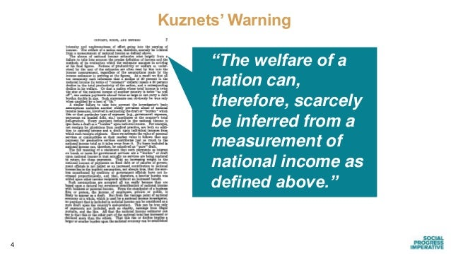 """4 Digitized for FRASER http://fraser.stlouisfed.org/ Federal Reserve Bank of St. Louis Kuznets' Warning """"The welfare of a ..."""