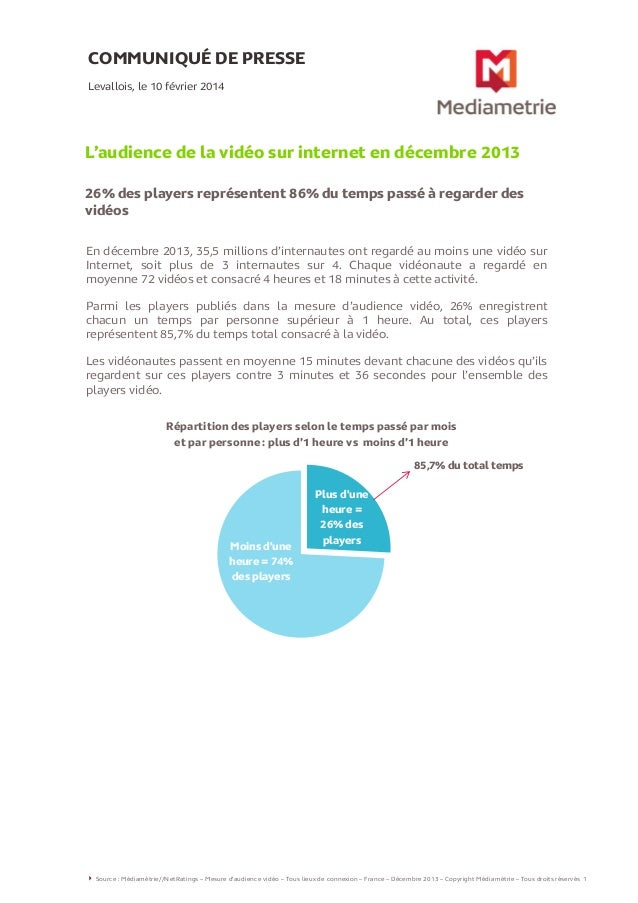 COMMUNIQUÉ DE PRESSE Levallois, le 10 février 2014  L'audience de la vidéo sur internet en décembre 2013 26% des players r...