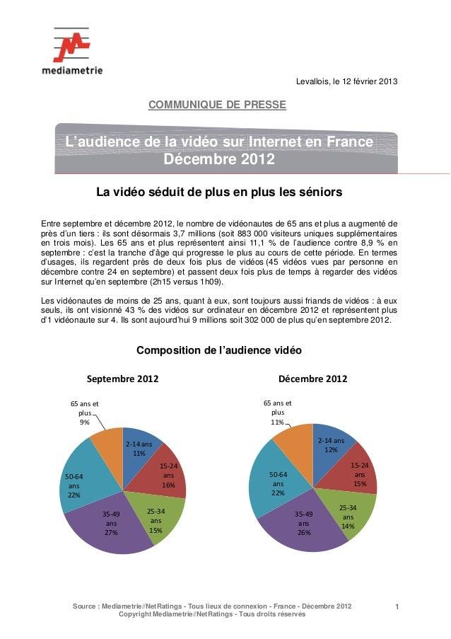 Levallois, le 12 février 2013                                    COMMUNIQUE DE PRESSE      L'audience de la vidéo sur Inte...