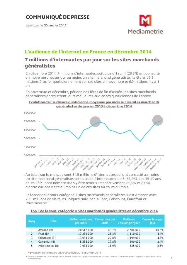 En décembre 2014, 7 millions d'internautes, soit plus d'1 sur 4 (28,2%) ont consulté en moyenne chaque jour au moins un si...