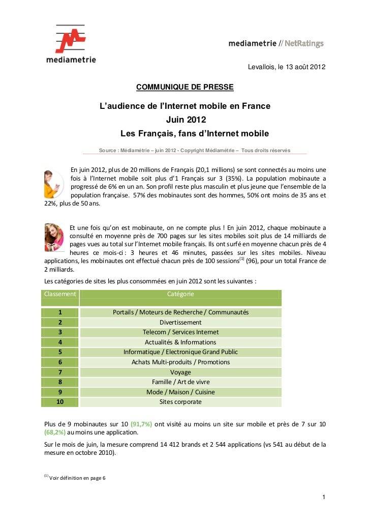 Levallois, le 13 août 2012                                           COMMUNIQUE DE PRESSE                            L'aud...