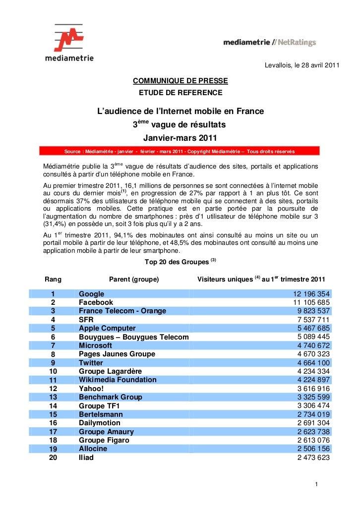 Levallois, le 28 avril 2011                                    COMMUNIQUE DE PRESSE                                      E...