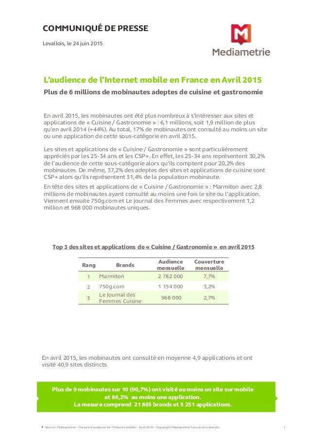 COMMUNIQUÉ DE PRESSE L'audience de l'Internet mobile en France en Avril 2015 Plus de 6 millions de mobinautes adeptes de c...