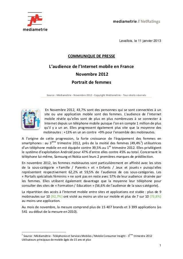 Levallois, le 11 janvier 2013                                    COMMUNIQUE DE PRESSE                     L'audience de l'...