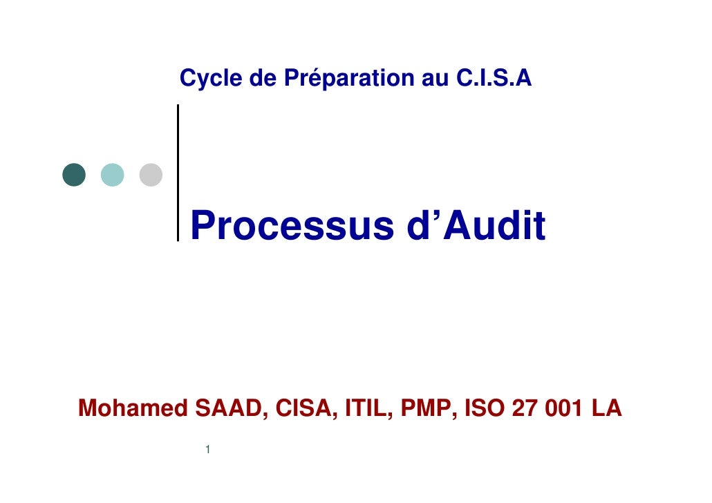 Cycle de Préparation au C.I.S.A              Processus d'Audit    Mohamed SAAD, CISA, ITIL, PMP, ISO 27 001 LA           1