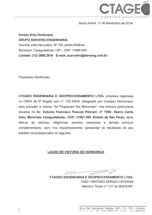 CTAGEÔ  engenharia & geoprocessoment(  Santo André,  17 de Novembro de 2014.  llmo(s) Sr(s) Diretor(es)  GRUPO SERVENG ENG...