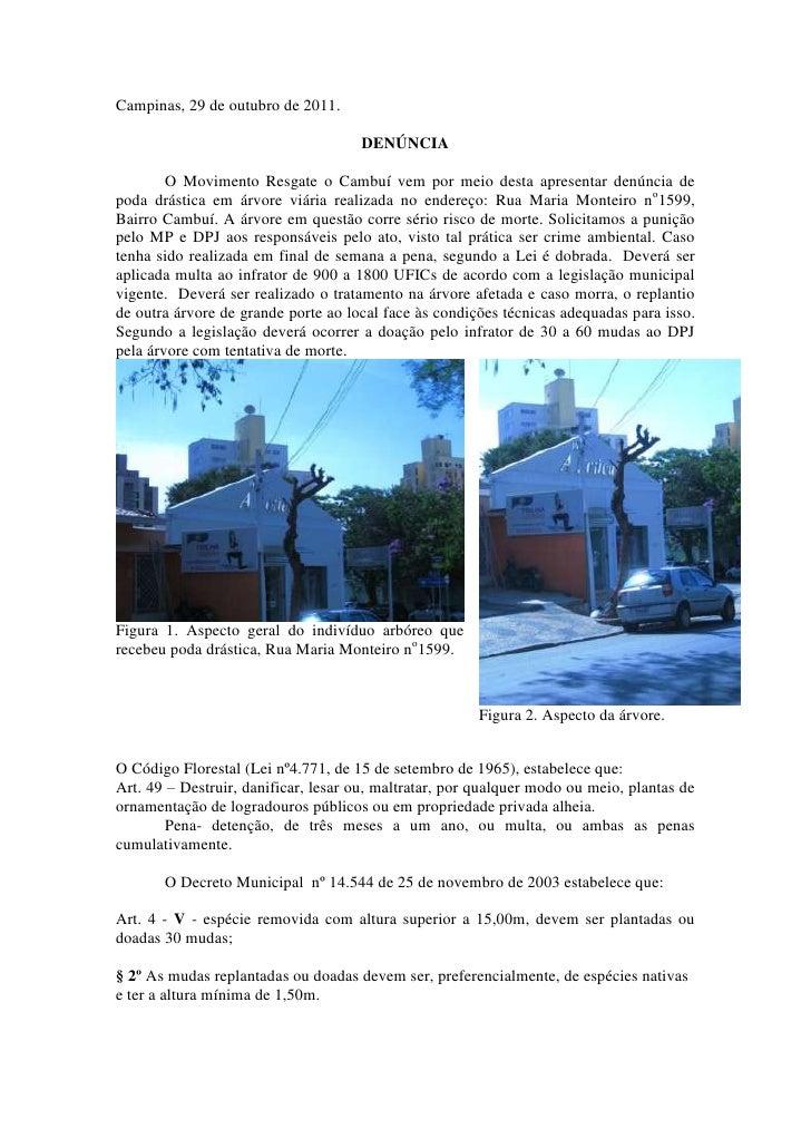 Campinas, 29 de outubro de 2011.                                     DENÚNCIA        O Movimento Resgate o Cambuí vem por ...