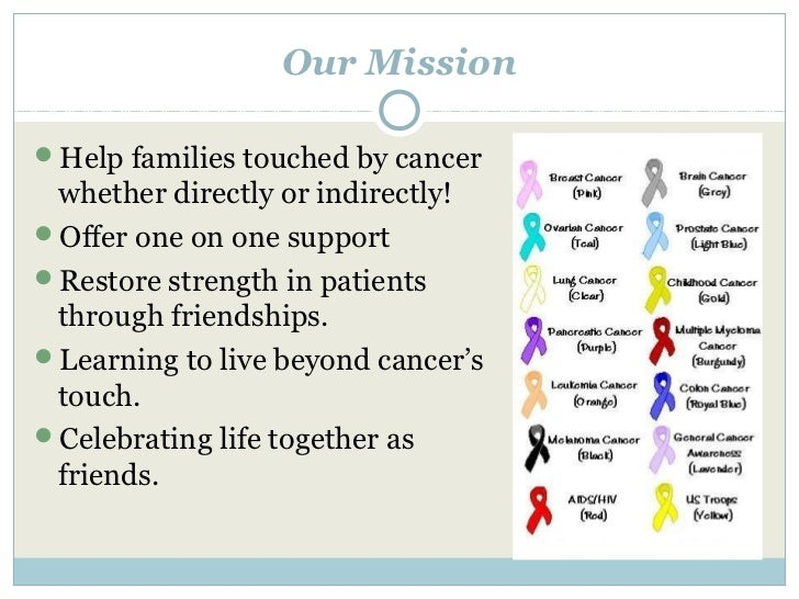 Our MissionHelp families touched by cancer whether directly or indirectly!Offer one on one supportRestore strength in p...