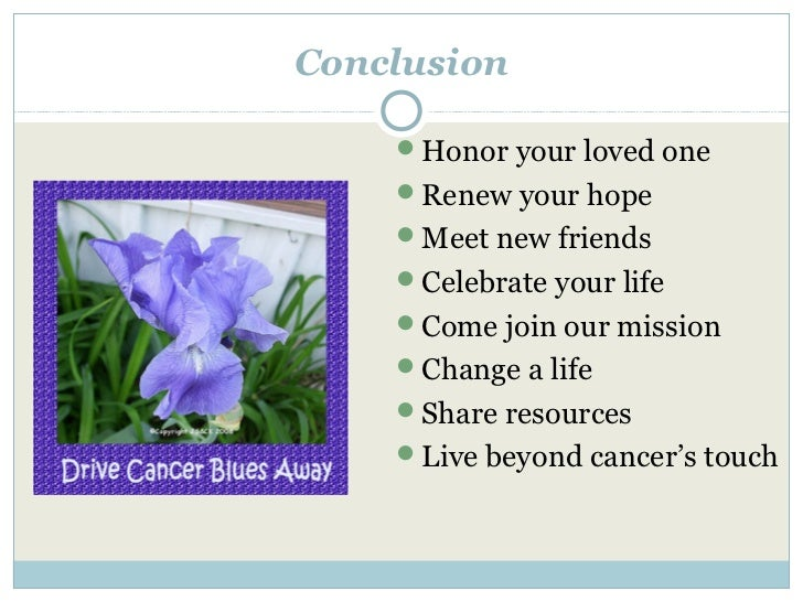 Conclusion    Honor your loved one    Renew your hope    Meet new friends    Celebrate your life    Come join our mis...