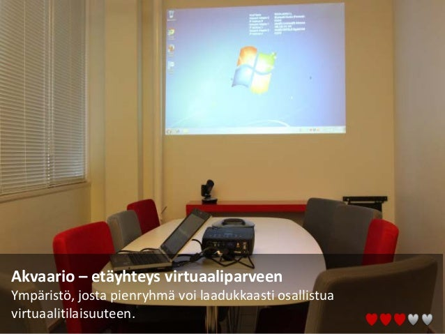 Akvaario – etäyhteys virtuaaliparveen Ympäristö, josta pienryhmä voi laadukkaasti osallistua virtuaalitilaisuuteen.