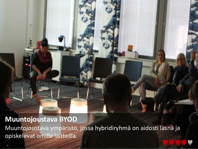 Muuntojoustava BYOD Muuntojoustava ympäristö, jossa hybridiryhmä on aidosti läsnä ja opiskelevat omilla laitteilla. .