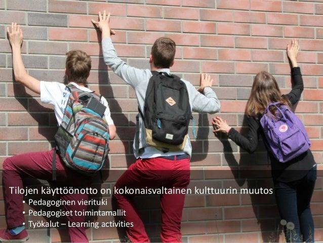 Tilojen käyttöönotto on kokonaisvaltainen kulttuurin muutos • Pedagoginen vierituki • Pedagogiset toimintamallit • Työkalu...