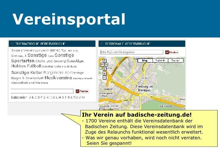 Vereinsportal Ihr Verein auf badische-zeitung.de! - 1700 Vereine enthält die Vereinsdatenbank der    Badischen Zeitung. Di...