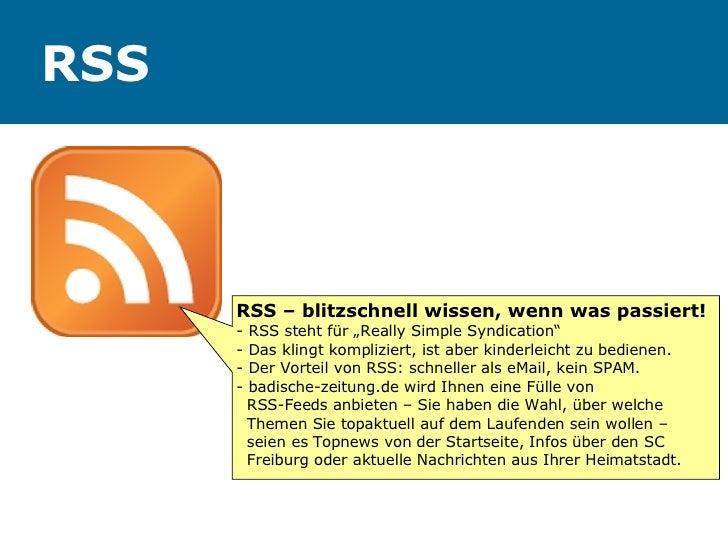 """RSS RSS – blitzschnell wissen, wenn was passiert! - RSS steht für """"Really Simple Syndication"""" - Das klingt kompliziert, is..."""