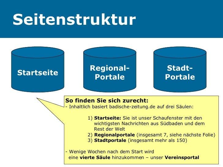 Seitenstruktur Startseite Regional- Portale Stadt- Portale So finden Sie sich zurecht: - Inhaltlich basiert badische-zeitu...