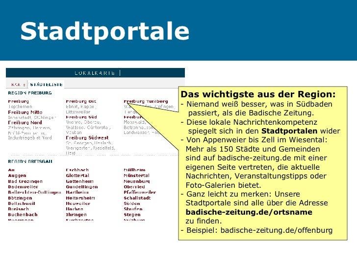 Stadtportale Das wichtigste aus der Region: - Niemand weiß besser, was in Südbaden    passiert, als die Badische Zeitung. ...