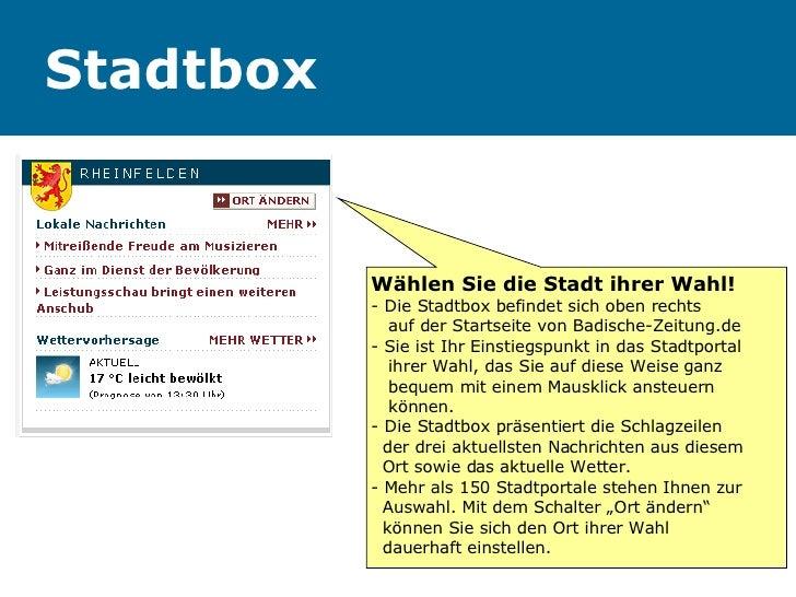 Stadtbox Wählen Sie die Stadt ihrer Wahl! - Die Stadtbox befindet sich oben rechts    auf der Startseite von Badische-Zeit...