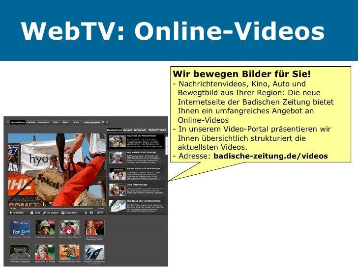 WebTV: Online-Videos Wir bewegen Bilder für Sie! - Nachrichtenvideos, Kino, Auto und    Bewegtbild aus Ihrer Region: Die n...