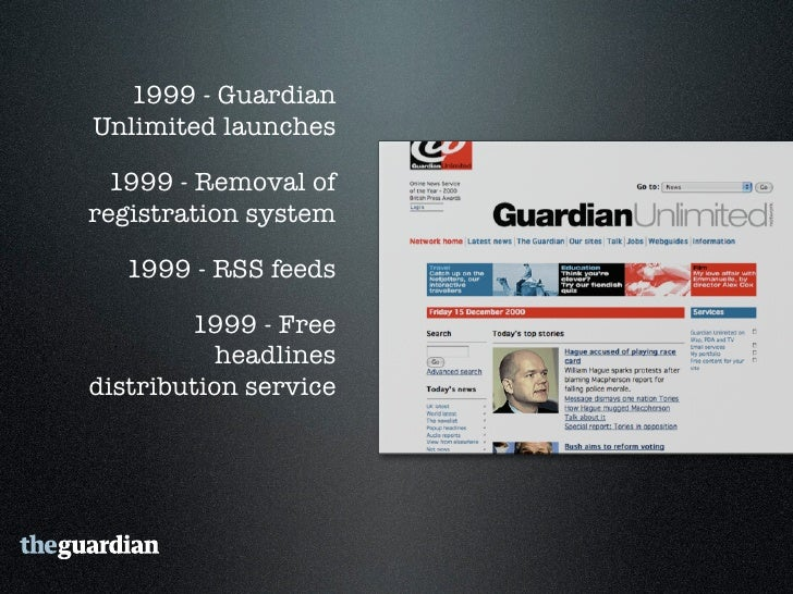 """2006 - Guardian Technology's  """"Free Our Data"""" campaign     2006 - Comment is free    2007 - RSS Everywhere"""