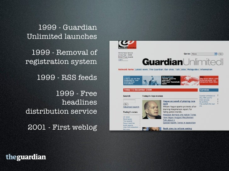 """2006 - Guardian Technology's  """"Free Our Data"""" campaign     2006 - Comment is free    2007 - RSS Everywhere  2007 - First p..."""