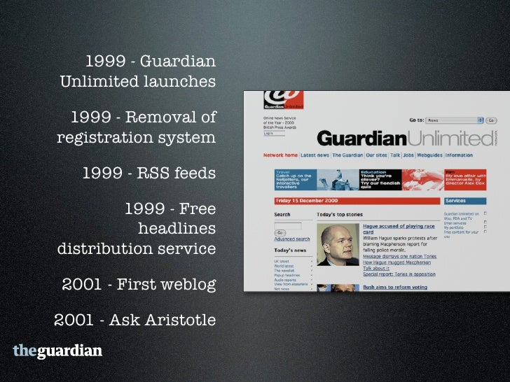 """2006 - Guardian Technology's  """"Free Our Data"""" campaign      2006 - Comment is free     2007 - RSS Everywhere  2007 - First..."""
