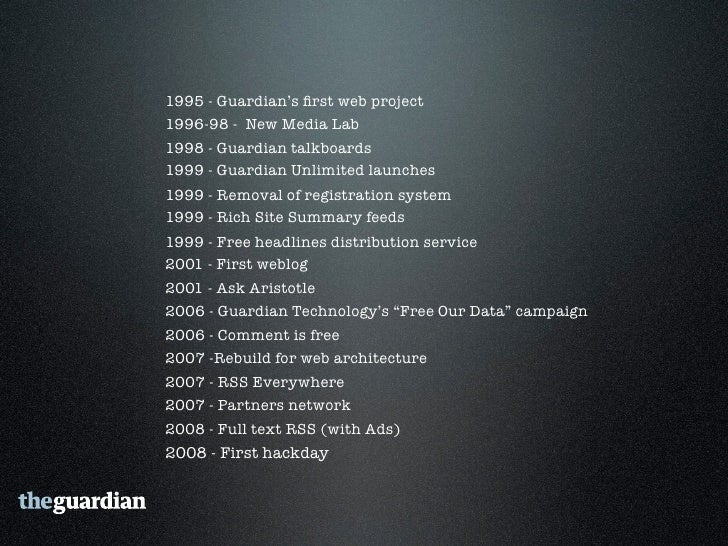 guardian.co.uk • 1 million items of content published   between 1999 - 2008 • News, reviews, sports, comment,   debate • t...