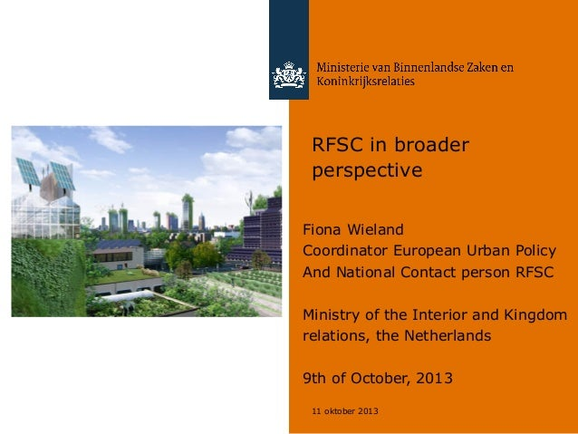 RFSC & EU Urban Agenda: a view from the Netherlands