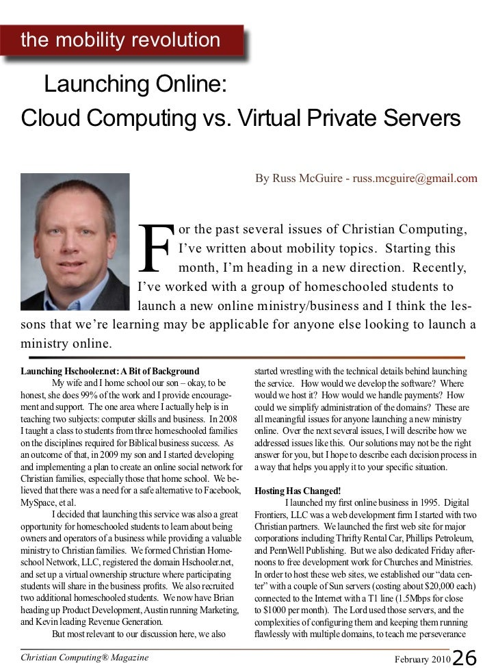 the mobility revolution    Launching Online: Cloud Computing vs. Virtual Private Servers                                  ...