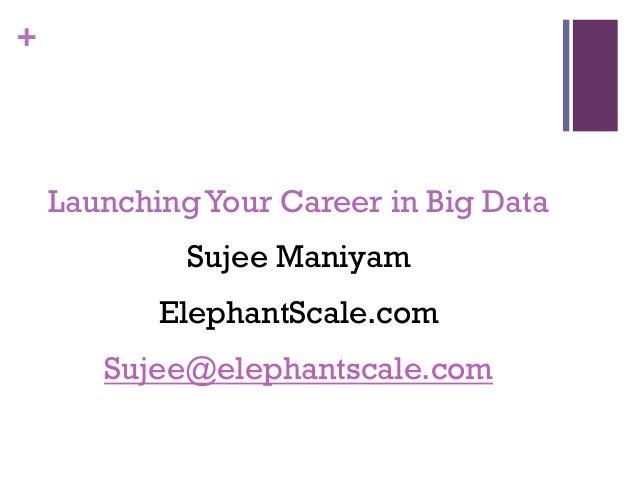 + LaunchingYour Career in Big Data Sujee Maniyam ElephantScale.com Sujee@elephantscale.com